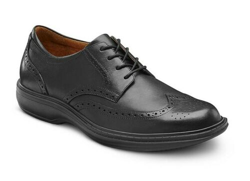 DR COMFORT TEENAGE BOYS SCHOOL SHOES UK 6.5 Leather Black Smart Lace-Up Formal