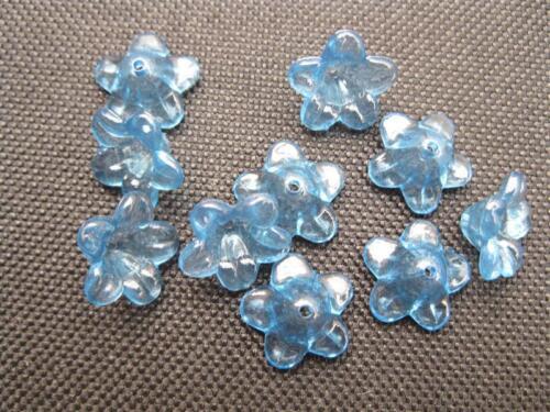 "10 perles en acrylique /""Fleur/"" 12x5mm blaupetrol perles 10711"