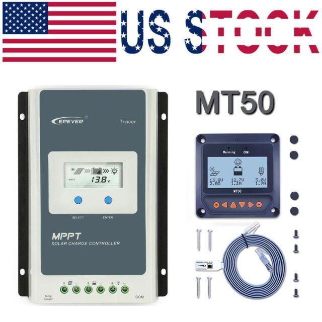 EPEVER MPPT 30A Solar Charge Controller 12V/24V Negative Ground Li Battery+  MT50