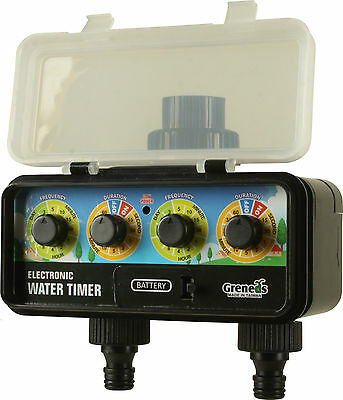 DVS201 Greneds 2 ZONE Electronic Water Timer(3~145 Psi,Solenoid, Solar&RainStop)