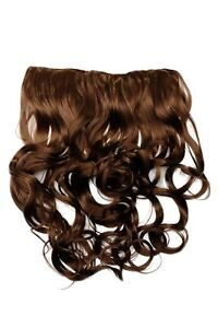 Clip-In-Extension-Cheveux-Large-5-Agrafe-Bouclee-Brun-Clair-avec-Meches-Blondes
