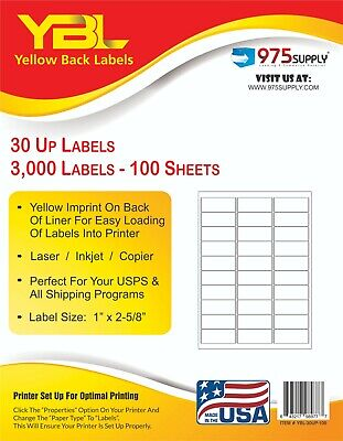 30000 Count 30 Up Premium Shipping and Mailing Labels 1 x 2 5//8 inches