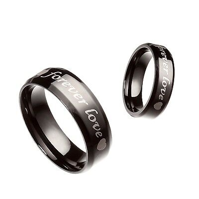 Black 6MM 8MM Stainless Steel Forever Love Wedding Band Ring Size 5-13 HS1