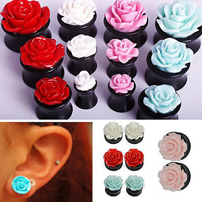 1-4 Pairs Acrylic Double Flared Black Solid Rose Top Ear Plugs Gauges 0G - 9/16""
