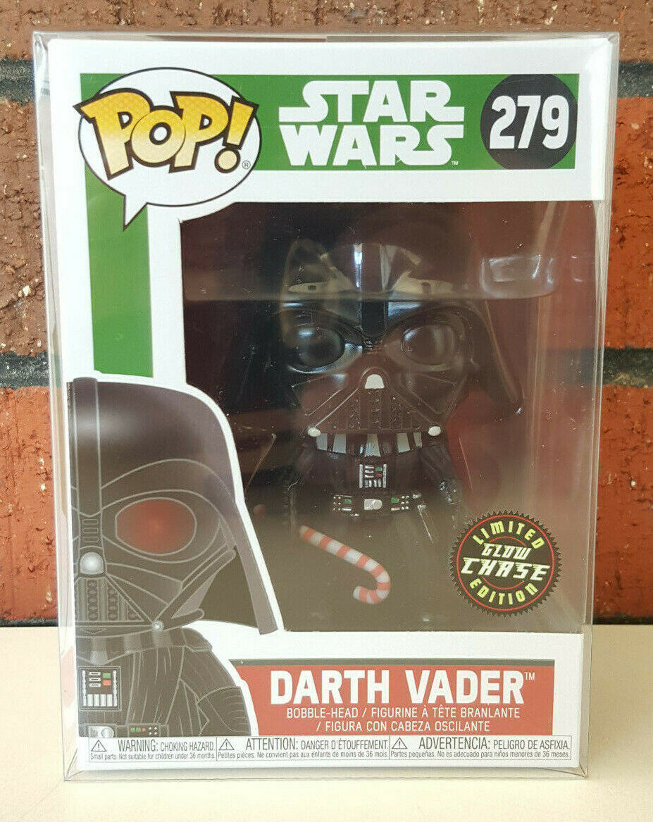 FUNKO POP  Darth Vader Holiday Cane - GLOW CHASE + POP Protector - 2018 - Rare