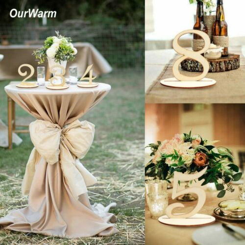 1-20 Wooden Table Numbers Holder with Base Stand Rustic Wedding Party Table Deco