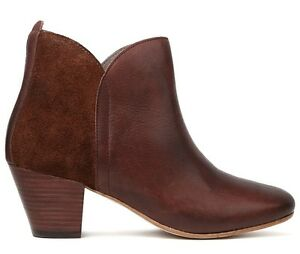 H-by-Hudson-Tan-Chime-Leather-Suede-Zip-Cuban-Heeled-Ankle-Boots-3-4-New