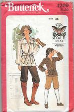 4209 UNCUT VTG 1776 MEN'S COLONIAL EARLY AMERICAN COSTUME Pattern Sz 38  Butteri