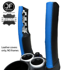 BLACK & BLUE LEATHER 2X DOWN TUBES COVERS FITS BMW MINI COPPER S R50 R53 01-06