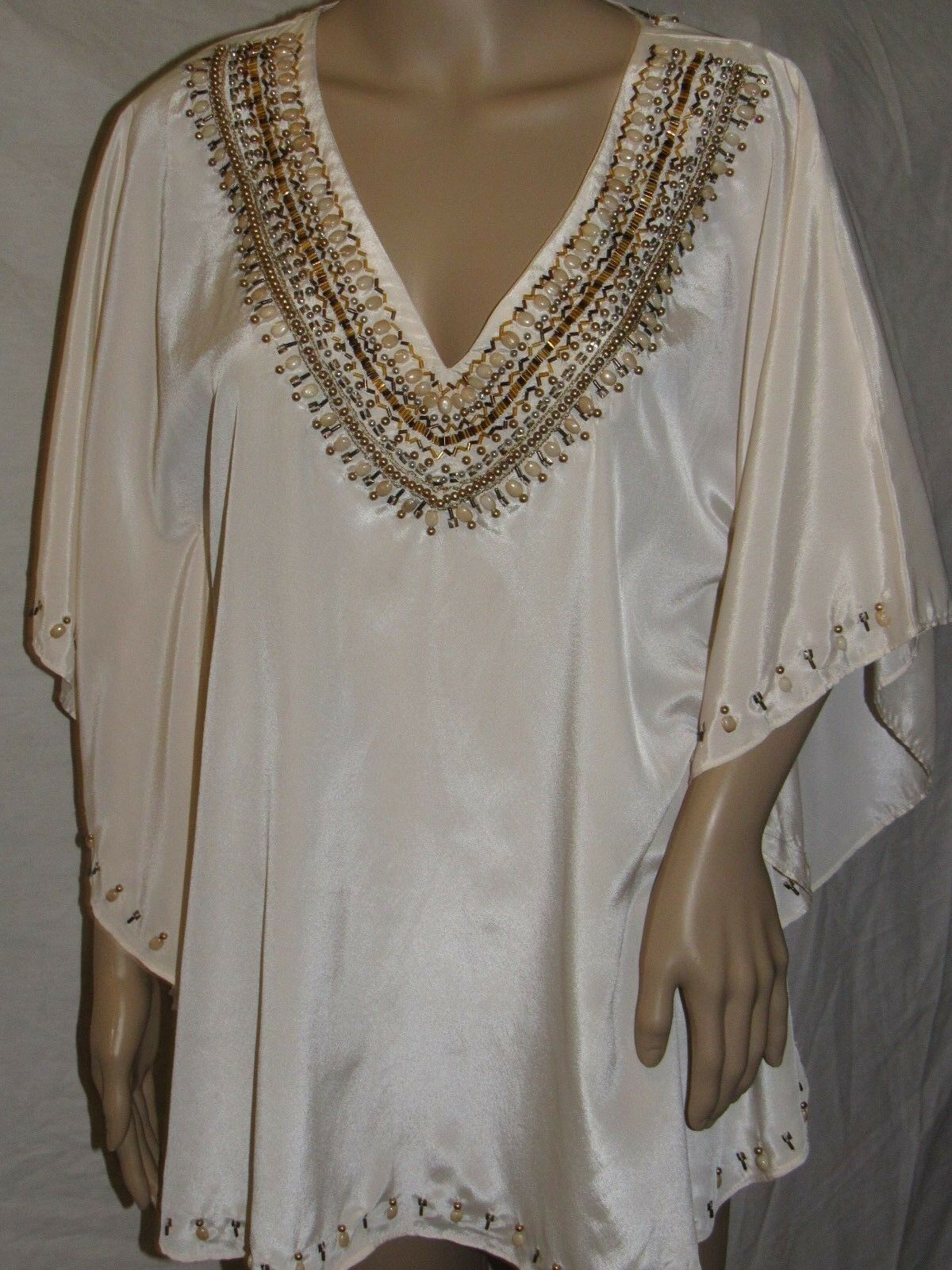 NEW KYRA MEDIUM Beige with Golden beaded neckline DOLMAN BLOUSE MSRP
