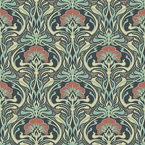 Archives-Flora-Nouveau-Papier-Peint-Paon-Vert-Couronne-M1196-Retro-Fleurs