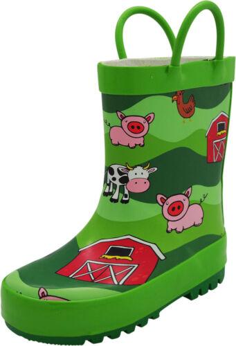 Norty New Toddlers Big Kids Boys Girls Waterproof Rubber Rain Boots Little