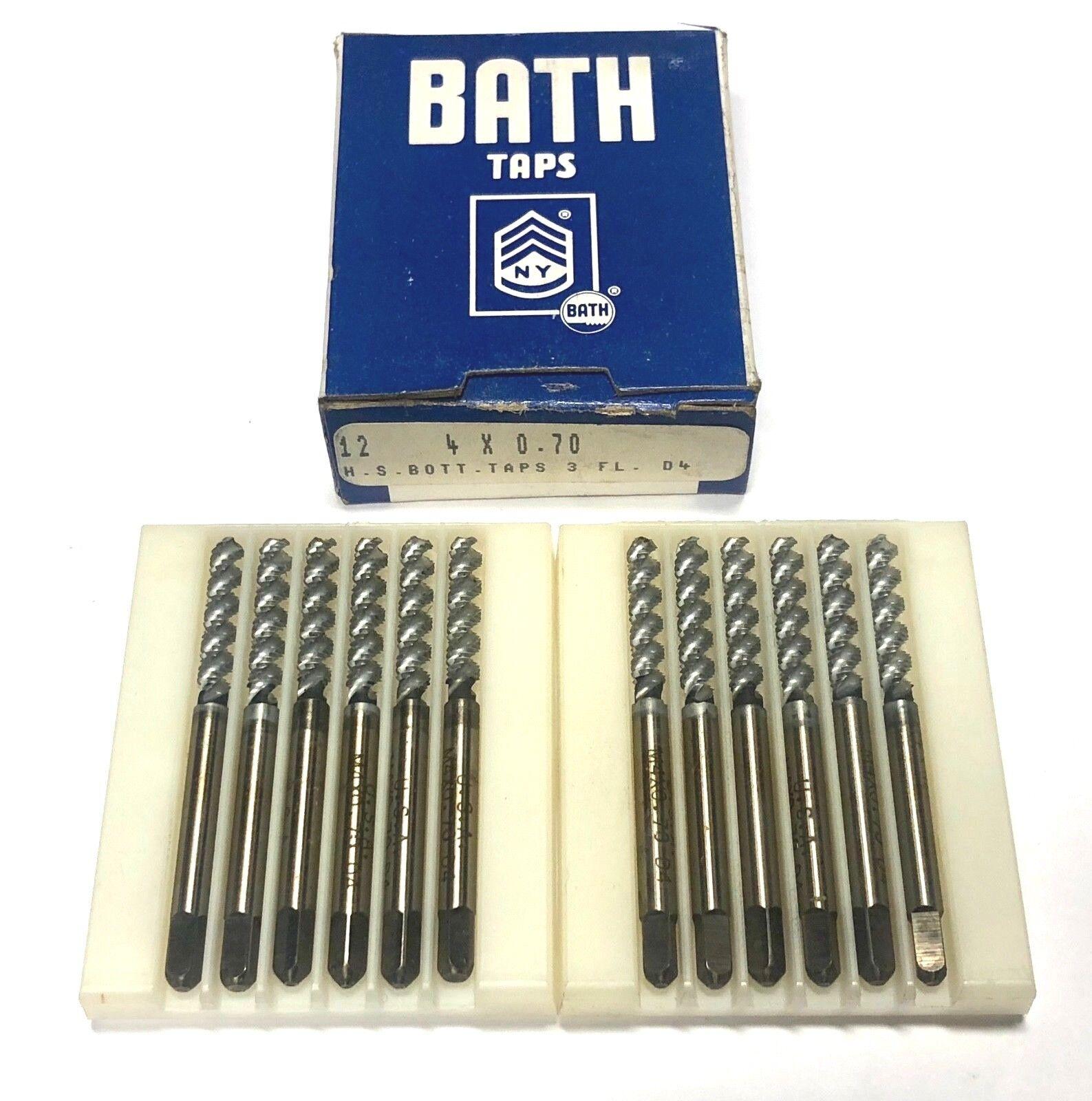 Bath Taps M4 x .70 Hand Tap Spiral Flute Bottoming Taps D4 3FL 12 Pack USA Made