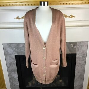 NWT-J-CREW-Collection-Womens-L-Pink-Long-Double-Knit-Sparkle-Cardigan-Sweater