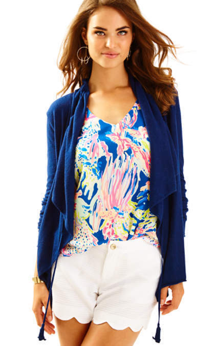 NEW Lilly Pulitzer ELYN LIGHT CARDIGAN True Navy bluee Open Front S
