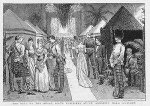 GLASGOW-Ball-of-the-Royal-Scots-Fusiliers-at-St-Andrew-039-s-Hall-Antique-Print-1892