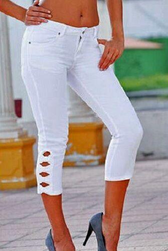 44 Bianco Stretch Pantaloni Nuovo 905666 CAPRI JEANS TG WOW
