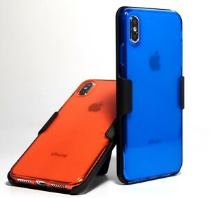 competitive price 9d0eb cb8eb Details about Clear Red Clear Blue Slim TPU case + Belt Clip Holster for  iPhone XS X XS Max
