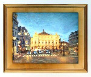 PARIS-OPERA-HOUSE-Original-Oil-Painting-Evening-Cityscape-Signed-Framed-O-C-COA