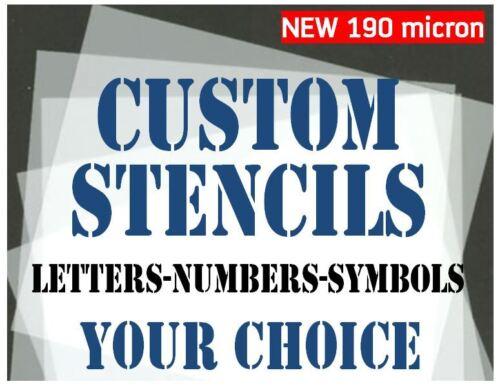 Plantillas de Personalizada 30mm 40mm 50mm letras números y símbolos de su elección de 190 micras