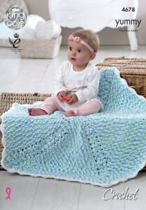 King-Cole-Knitting-Pattern-Crochet-Blankets-Baby-4678-Chunky-Yummy