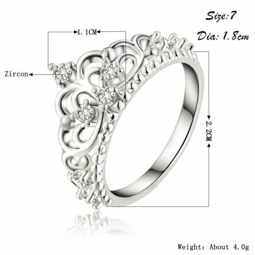 Women Trendy Engagement Wedding Bands Promise Rings Princess Queen Crown Rings