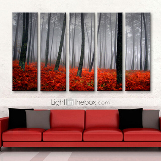Not FrAMED Canvas Print Red Forest Tree Landscape Pictures Home Decor Wall Art