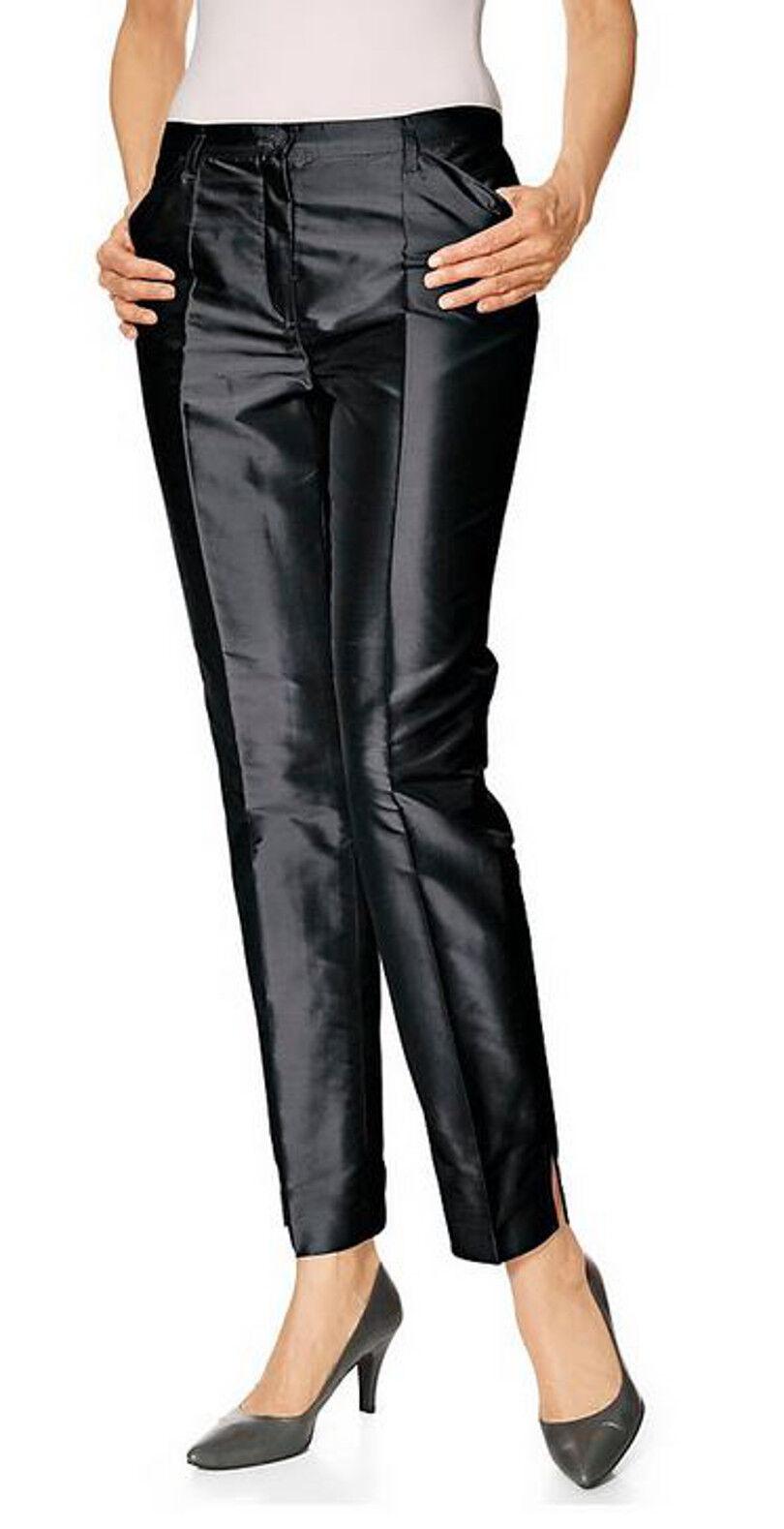 Seidenhose schwarz 36 SINGH SINGH SINGH S.MADAN Heine 100% Seide Wildseide elegant NP e63916