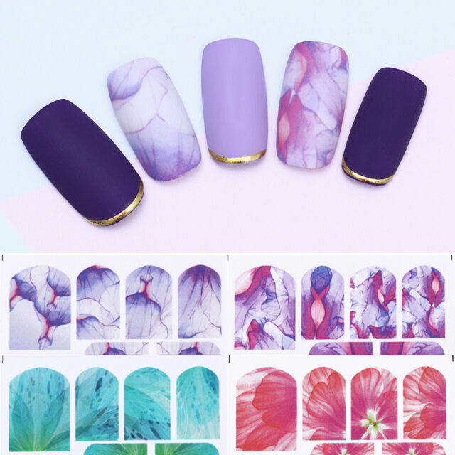 2sheets Half Transparent Flower Nail Art Water Stickers Decals