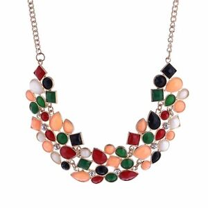 Charm-Fashion-Pendant-Chain-Crystal-Choker-Chunky-Statement-Bib-Necklace-Jewelry