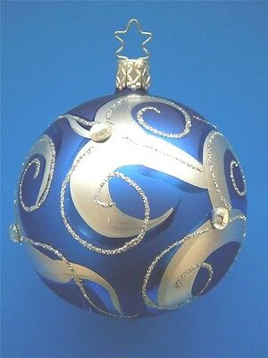 med royal blue silv 225 inge glas ball german blown glass christmas ornament