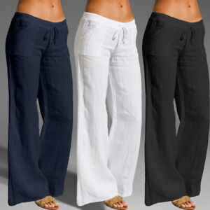 Ladies Casual Loose Long Pants Wide Leg Trousers Elastic Waist Cotton Women 8-26