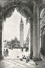 D0823 Edgar Chahine - La Piazza San Marco - Stampa d'epoca - 1926 old print