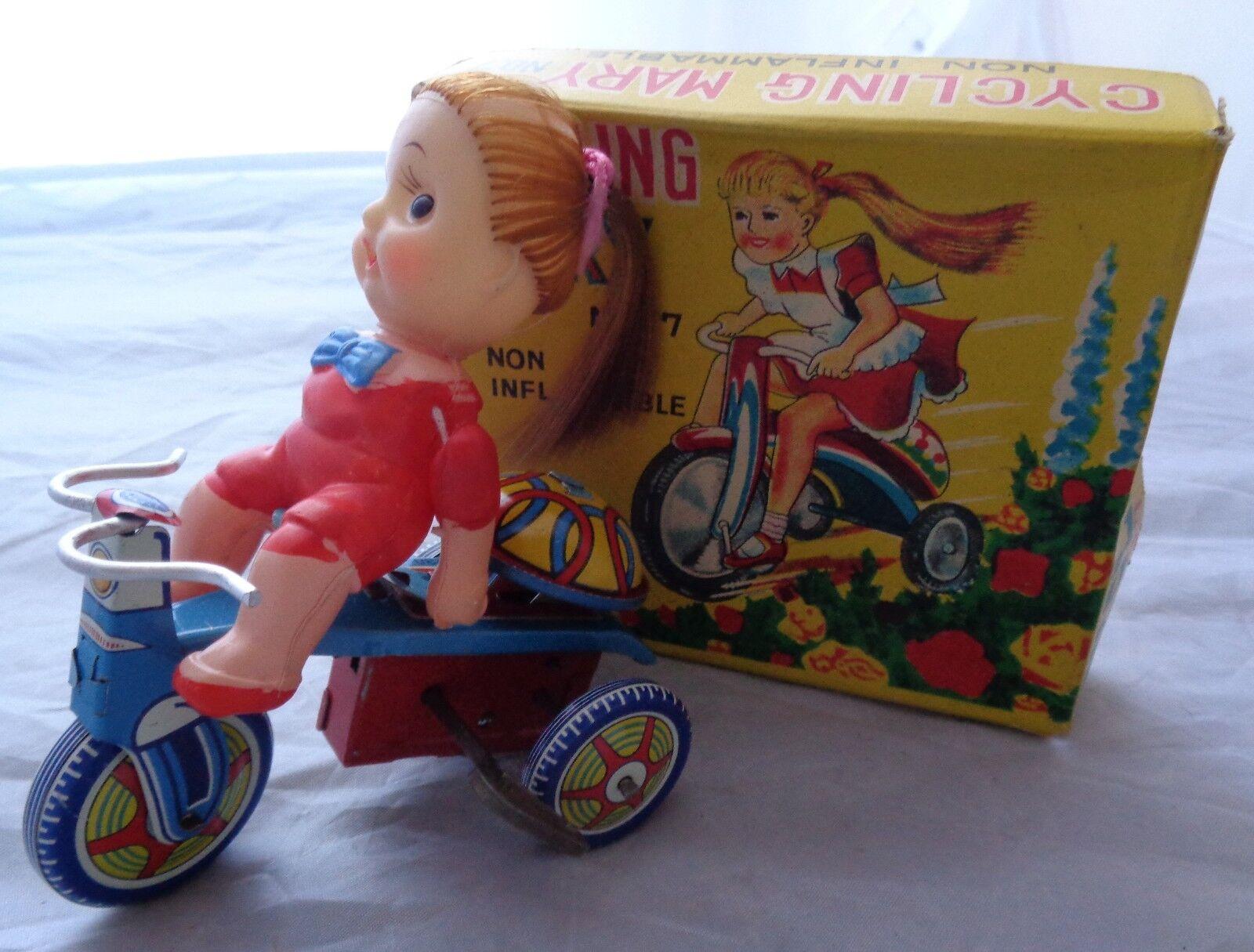 CYCLING MARY NO. 7  KANTO MADE IN JAPAN TIN TOY LITHO LITOGRAFATA SCATOLA BOX