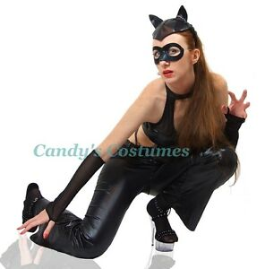 Image Is Loading Black Cat Sexy Leather Look Catwoman Costume Pants