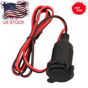 US-Car-12V-Cigarette-Lighter-Charger-Cable-Female-Socket-Plug-Connector-Adapter