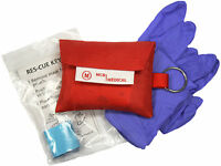 Cpr Mask Keychain With Nitrile Gloves, Mcr Medical W Ambu Barrier / Face-mask
