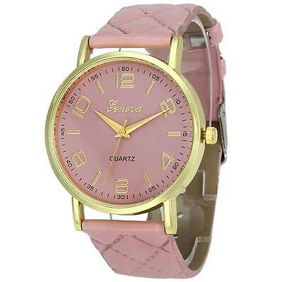 New Formal Geneva Women Ladies Watch Faux Leather Stainless Steel Wrist Watches