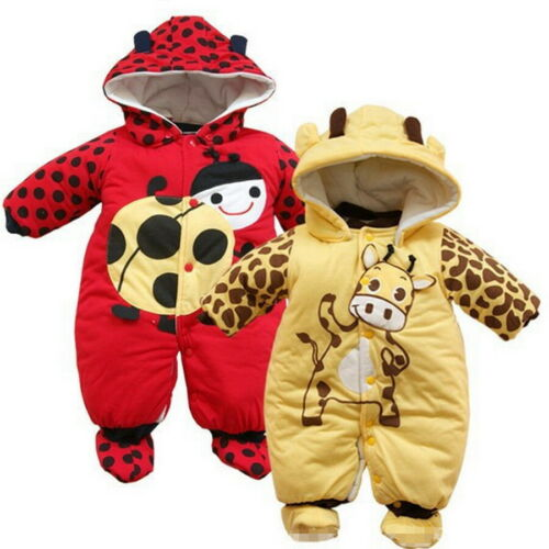 Baby Newborn Infant Warm Hooded Animal Clothes Romper Jumpsuit Bodysuit Outfit