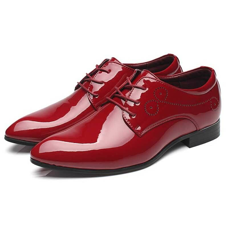 Men's Pointed Toe Business shoes Oxford Patent Leather Flats Party Wedding Dress