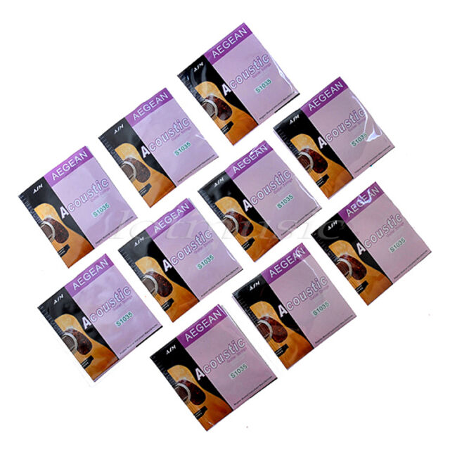10 Sets Acoustic Guitar Strings Set Brass Wound Extra Light .010-.047 inch