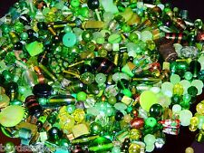 NEW GLASS ONLY lot 1/2 Lb of 6mm-15mm GREEN'S MIXED LOOSE BEADS LOT