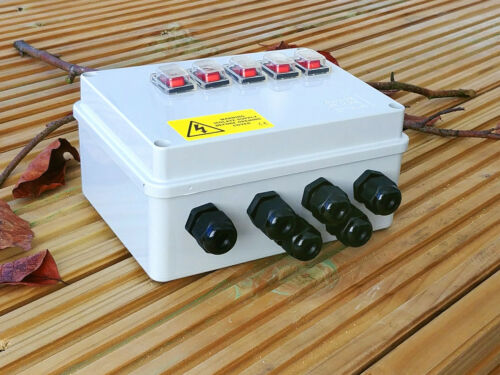 Illuminated Rocker Switch box for Pond Pumps Filters etc and Outdoor Lighting