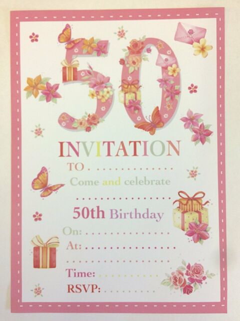 50th Birthday Party Invitations Female Design 20 Sheets And Envelopes