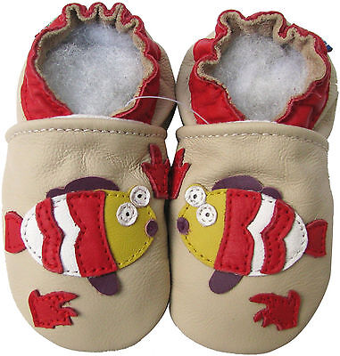 carozoo fish cream 0-6m new soft sole leather baby shoes