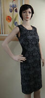 NWT GRACE ELEMENTS black/gray/silver floral sleeveless slimming waist dress,10
