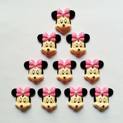 10 pcs Minnie Mouse Resin Flatback Scrapbooking Hair Bow Center Crafts Making