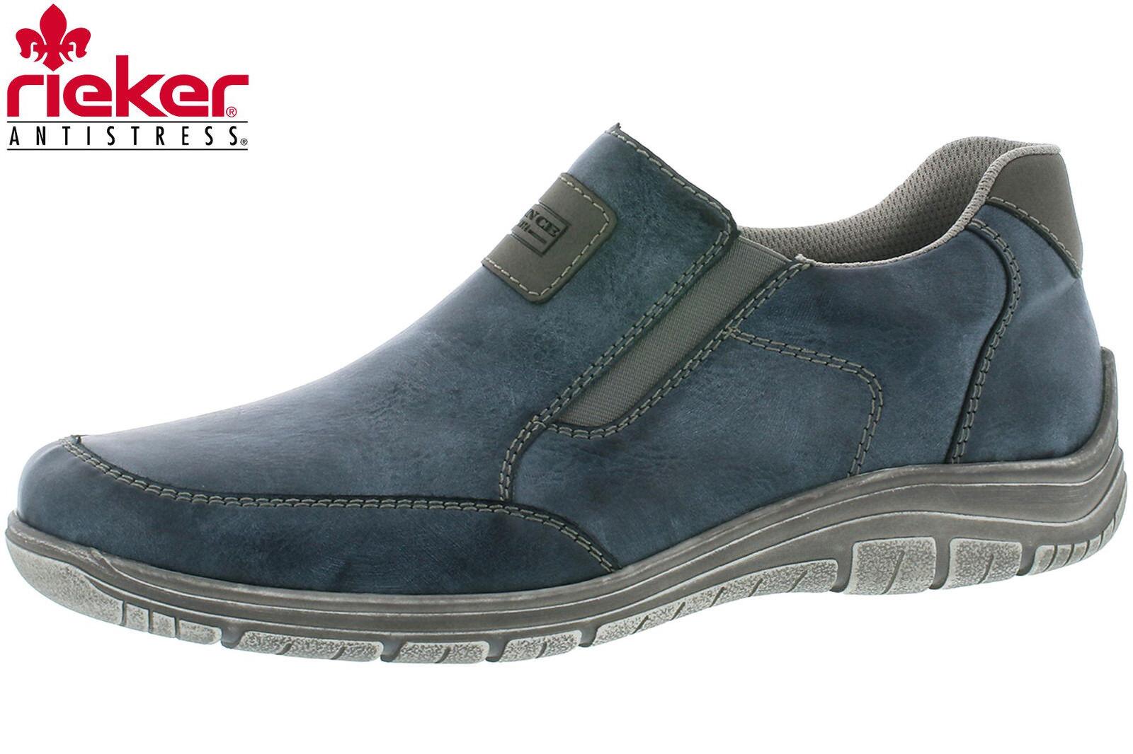 Rieker Herren Slipper Blau Sommer Schuhe Leder Optik Sneaker Slip On B6551-14