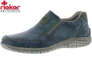 Details zu Rieker Herren Slipper Blau Sommer Schuhe Leder Optik Sneaker Slip On B6551 14
