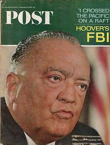 1965 Saturday Evening Post September 25 - J Edgar Hoover-FBI; Bill Cosby;By raft